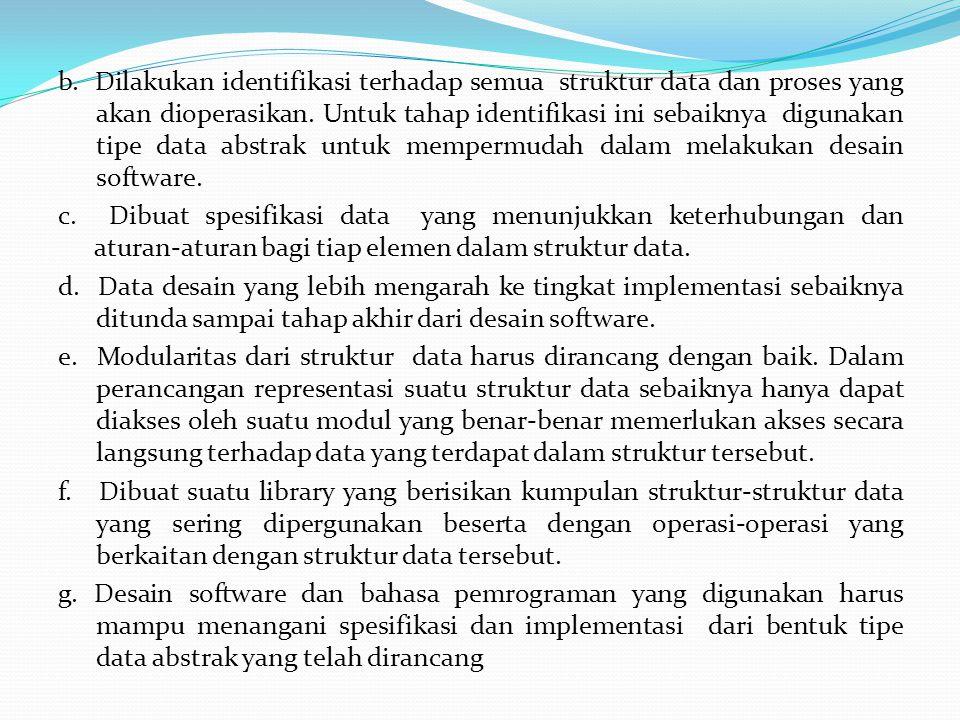b. Dilakukan identifikasi terhadap semua struktur data dan proses yang akan dioperasikan.