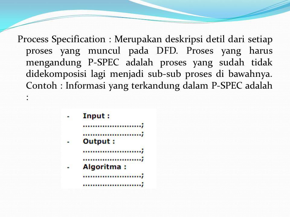 Process Specification : Merupakan deskripsi detil dari setiap proses yang muncul pada DFD.