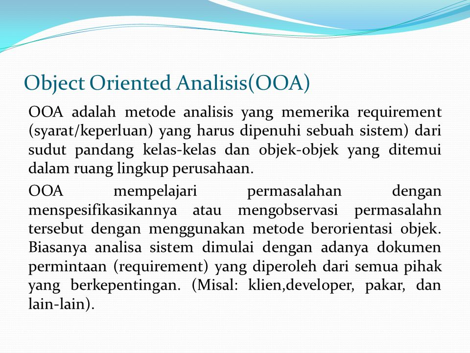 Object Oriented Analisis(OOA)