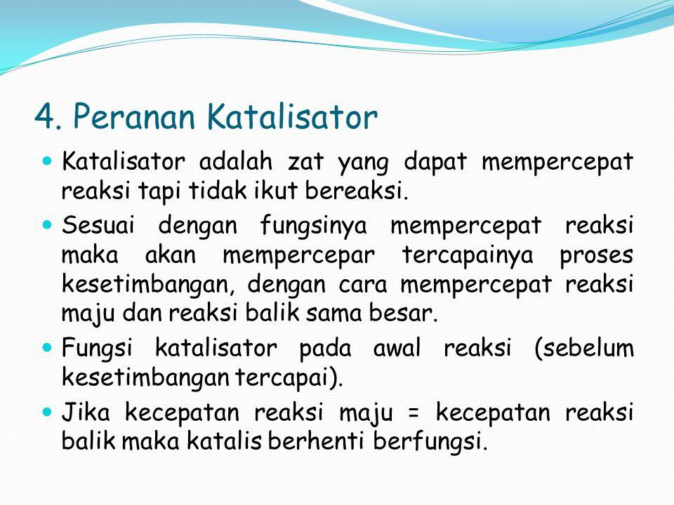 4. Peranan Katalisator Katalisator adalah zat yang dapat mempercepat reaksi tapi tidak ikut bereaksi.
