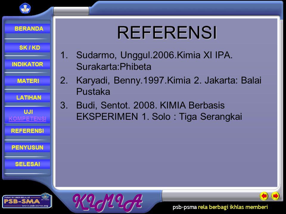 REFERENSI Sudarmo, Unggul.2006.Kimia XI IPA. Surakarta:Phibeta