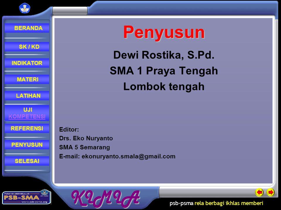 Penyusun Dewi Rostika, S.Pd. SMA 1 Praya Tengah Lombok tengah Editor: