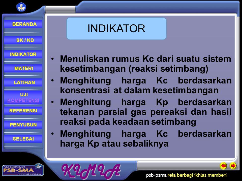INDIKATOR Menuliskan rumus Kc dari suatu sistem kesetimbangan (reaksi setimbang) Menghitung harga Kc berdasarkan konsentrasi at dalam kesetimbangan.