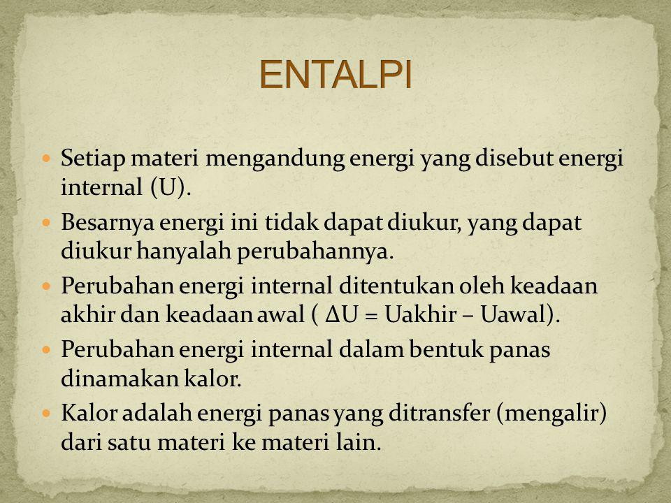 ENTALPI Setiap materi mengandung energi yang disebut energi internal (U).