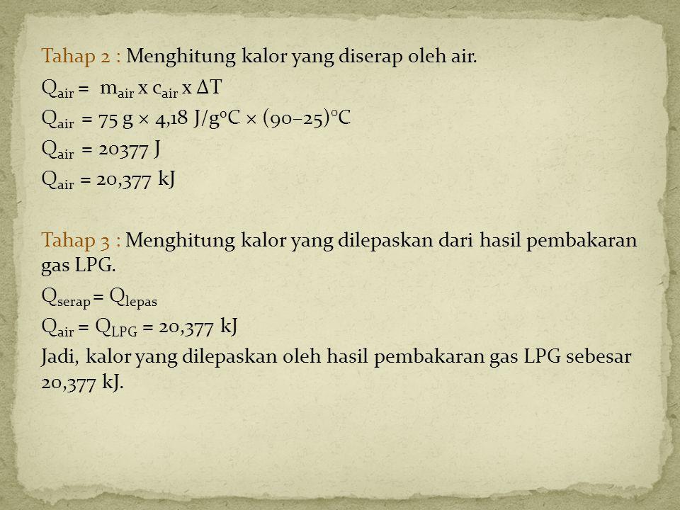 Tahap 2 : Menghitung kalor yang diserap oleh air