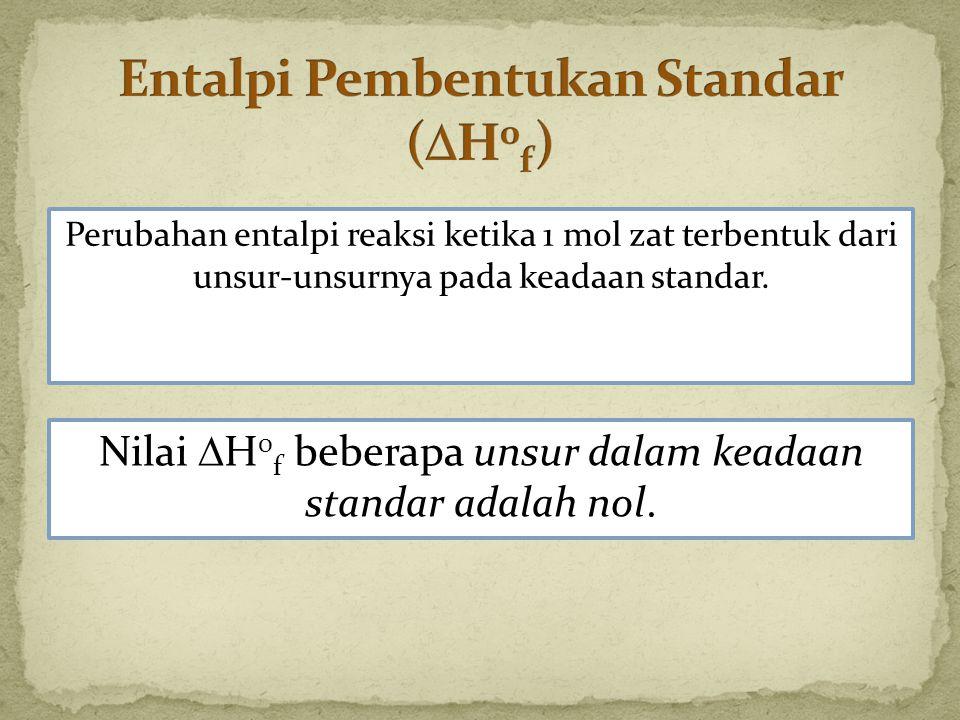 Entalpi Pembentukan Standar (H0f)