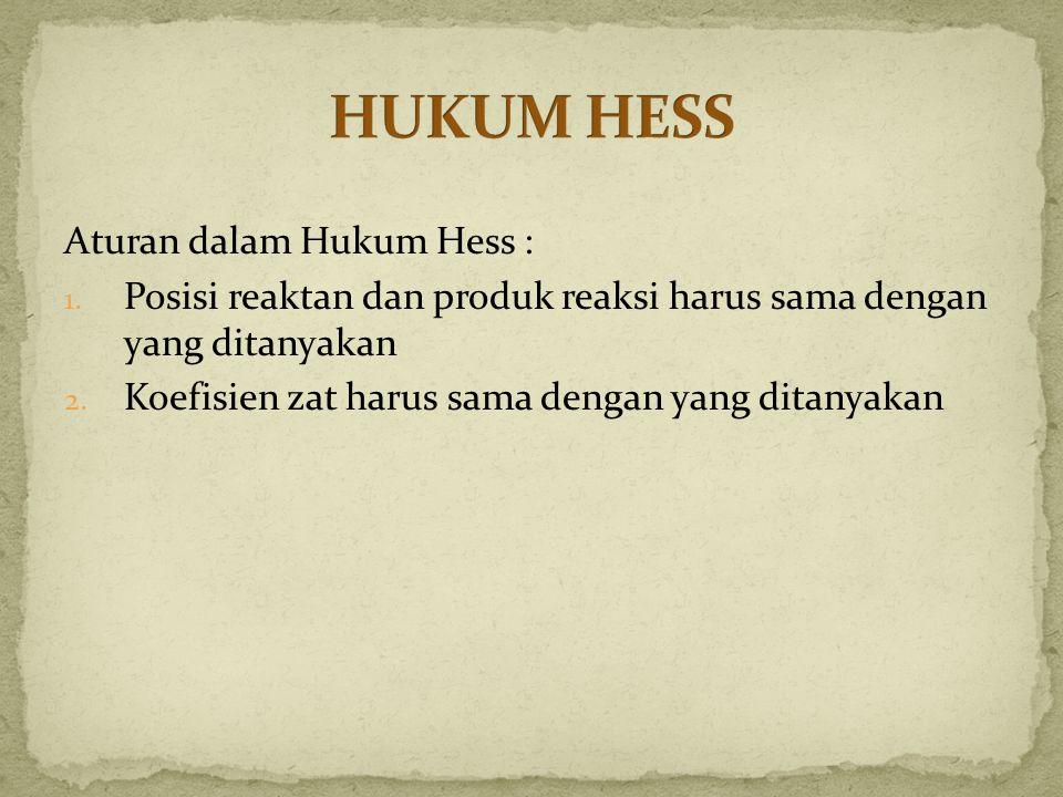 HUKUM HESS Aturan dalam Hukum Hess :