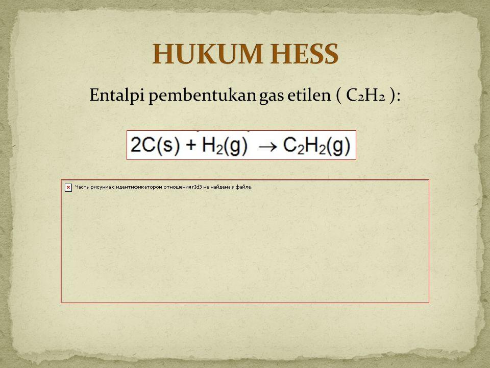 Entalpi pembentukan gas etilen ( C2H2 ):