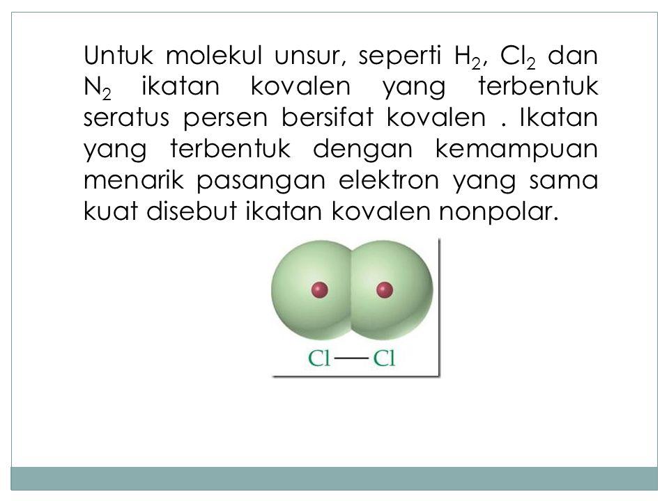 Untuk molekul unsur, seperti H2, Cl2 dan N2 ikatan kovalen yang terbentuk seratus persen bersifat kovalen .
