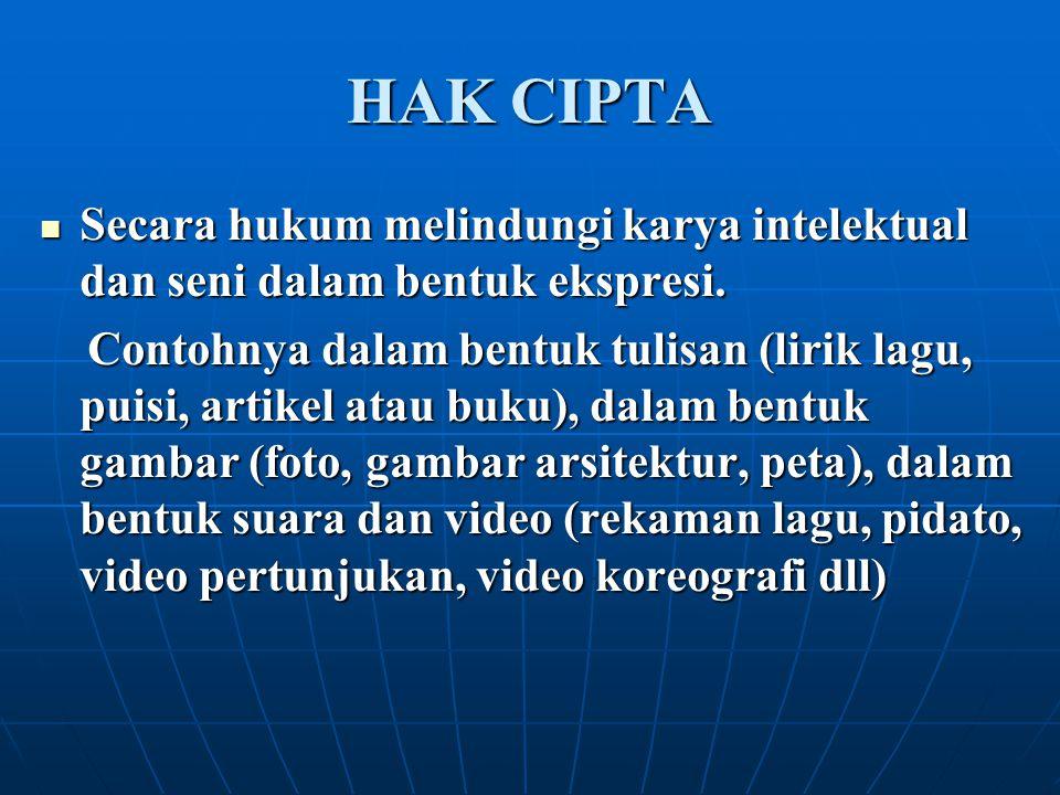 HAK CIPTA Secara hukum melindungi karya intelektual dan seni dalam bentuk ekspresi.