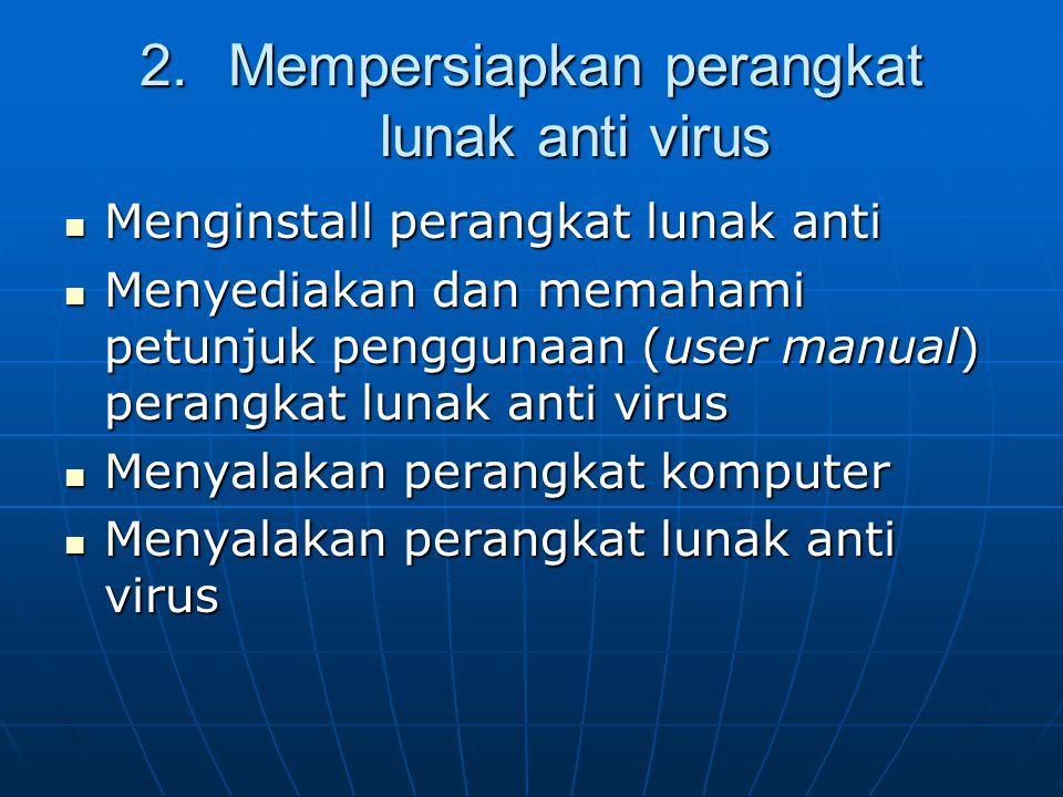 Mempersiapkan perangkat lunak anti virus
