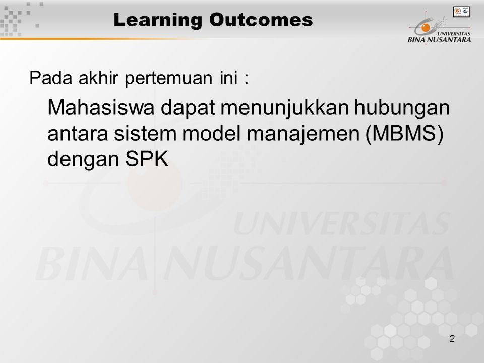 Learning Outcomes Pada akhir pertemuan ini : Mahasiswa dapat menunjukkan hubungan antara sistem model manajemen (MBMS) dengan SPK.