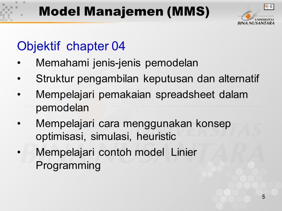 Model Manajemen (MMS) Objektif chapter 04