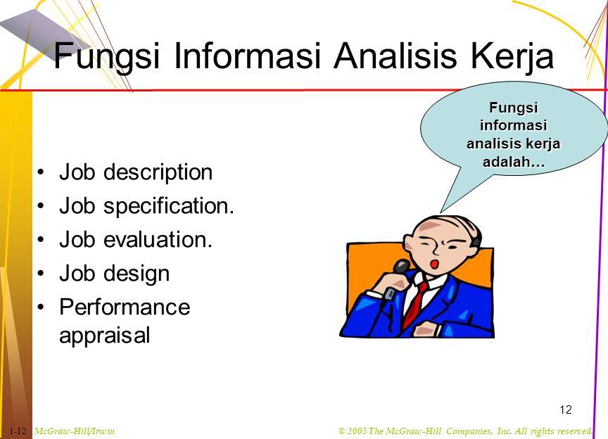 Fungsi Informasi Analisis Kerja