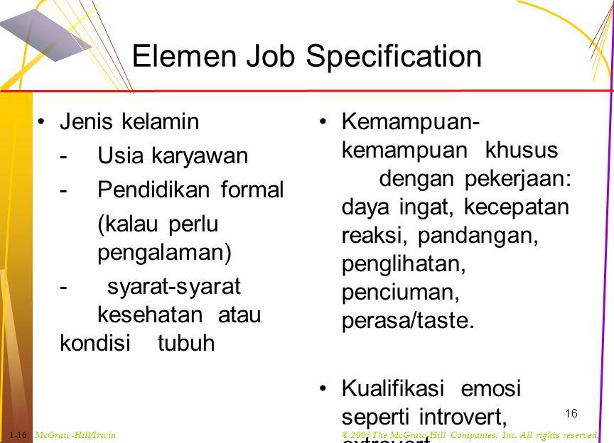Elemen Job Specification