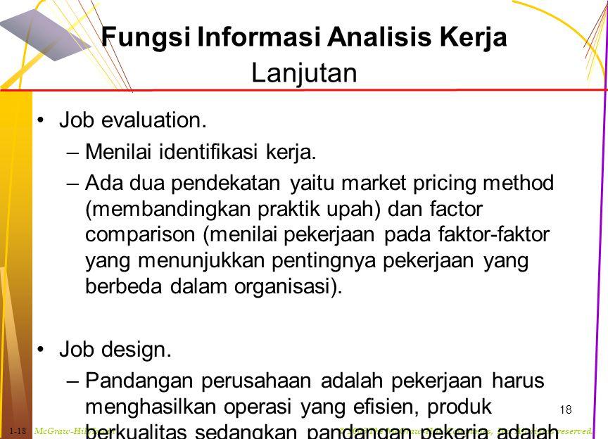 Fungsi Informasi Analisis Kerja Lanjutan