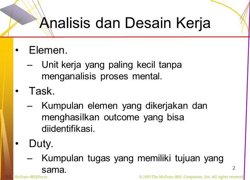 Analisis dan Desain Kerja