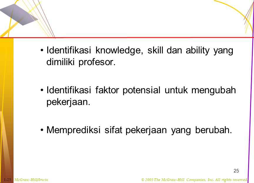 Identifikasi knowledge, skill dan ability yang dimiliki profesor.