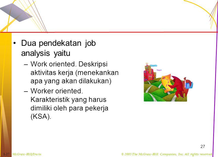 Dua pendekatan job analysis yaitu