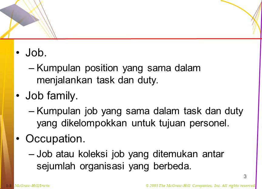 Job. Job family. Occupation.