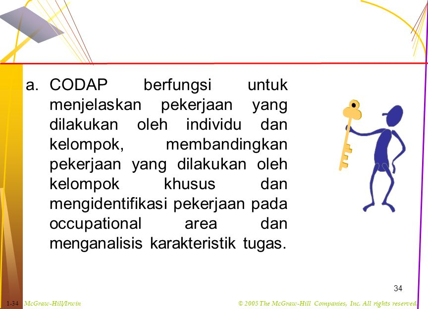CODAP berfungsi untuk menjelaskan pekerjaan yang dilakukan oleh individu dan kelompok, membandingkan pekerjaan yang dilakukan oleh kelompok khusus dan mengidentifikasi pekerjaan pada occupational area dan menganalisis karakteristik tugas.