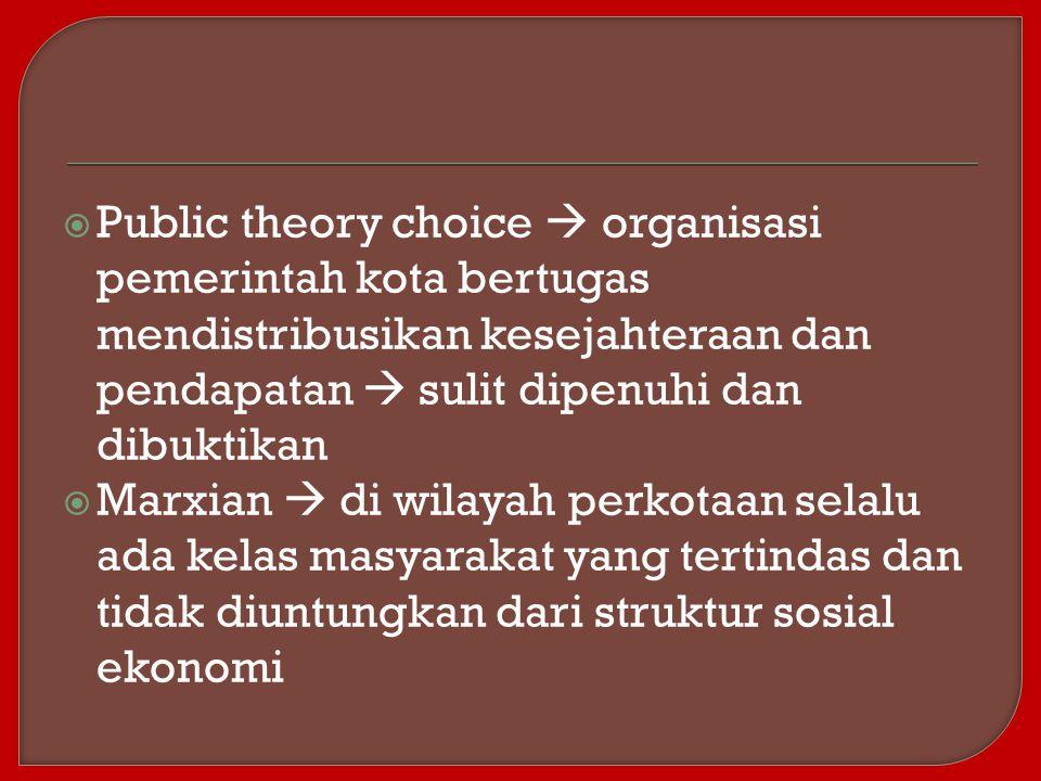 Public theory choice  organisasi pemerintah kota bertugas mendistribusikan kesejahteraan dan pendapatan  sulit dipenuhi dan dibuktikan