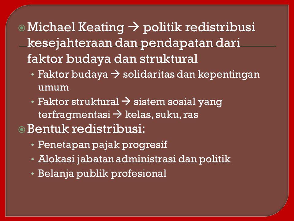 Michael Keating  politik redistribusi kesejahteraan dan pendapatan dari faktor budaya dan struktural
