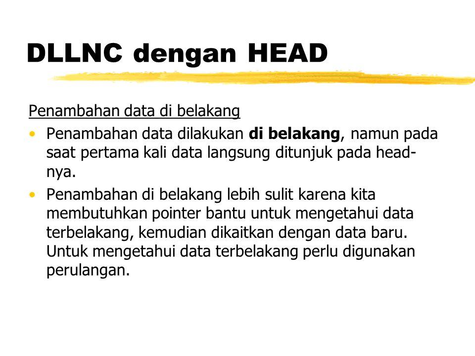 DLLNC dengan HEAD Penambahan data di belakang