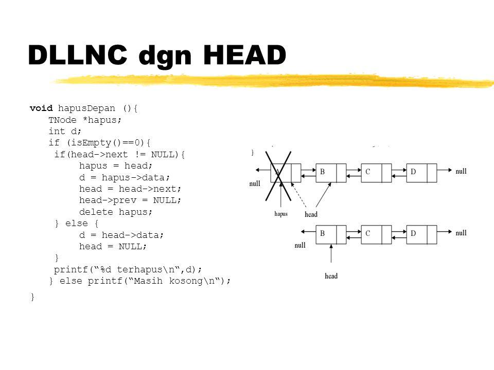 DLLNC dgn HEAD void hapusDepan (){ TNode *hapus; int d;