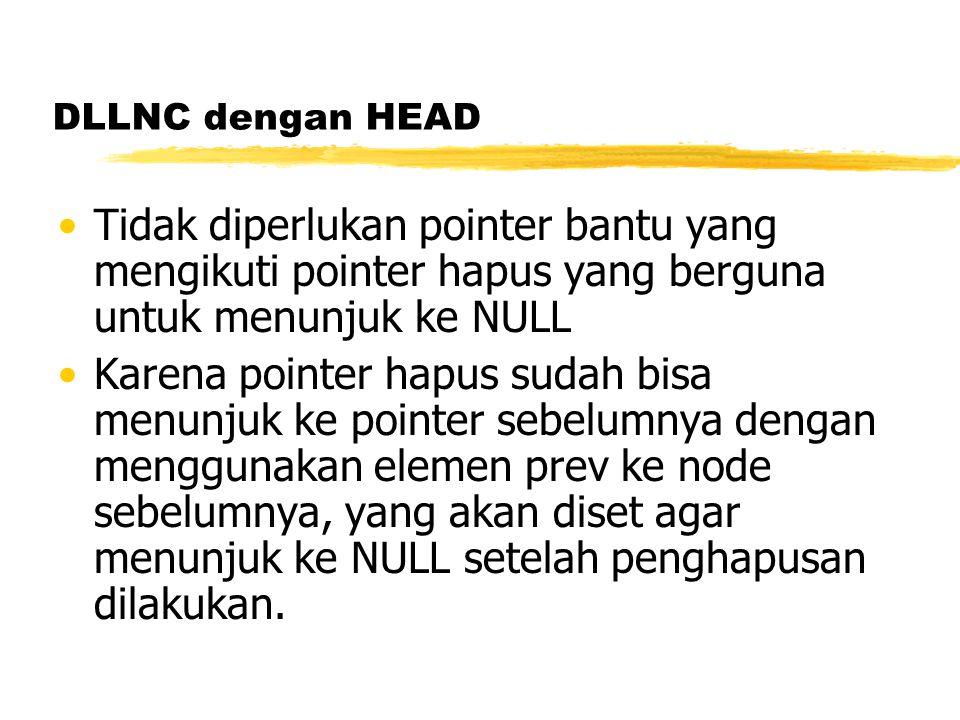DLLNC dengan HEAD Tidak diperlukan pointer bantu yang mengikuti pointer hapus yang berguna untuk menunjuk ke NULL.