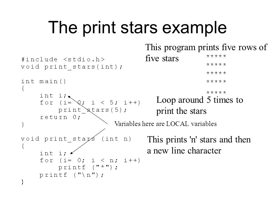 The print stars example