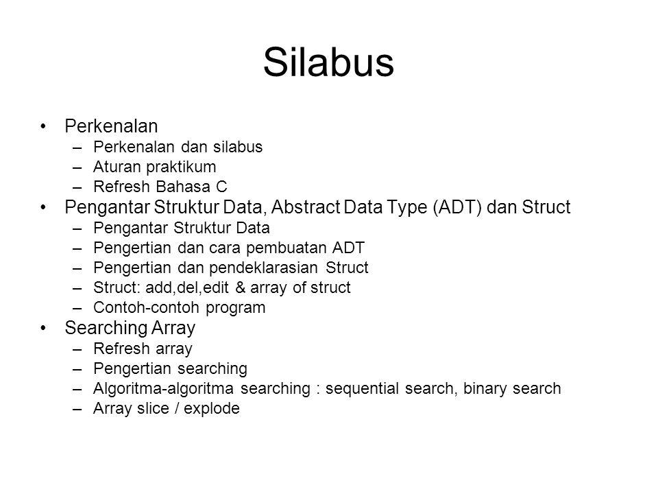 Silabus Perkenalan. Perkenalan dan silabus. Aturan praktikum. Refresh Bahasa C. Pengantar Struktur Data, Abstract Data Type (ADT) dan Struct.