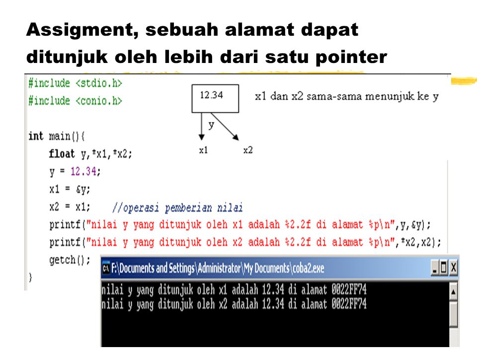 Assigment, sebuah alamat dapat ditunjuk oleh lebih dari satu pointer