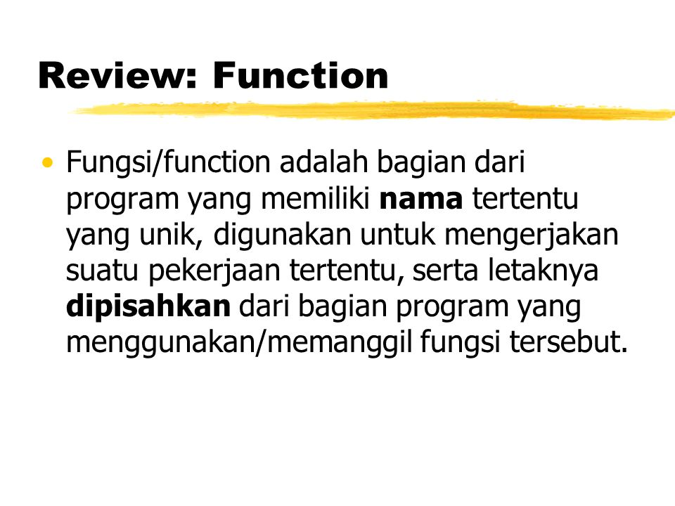 Review: Function