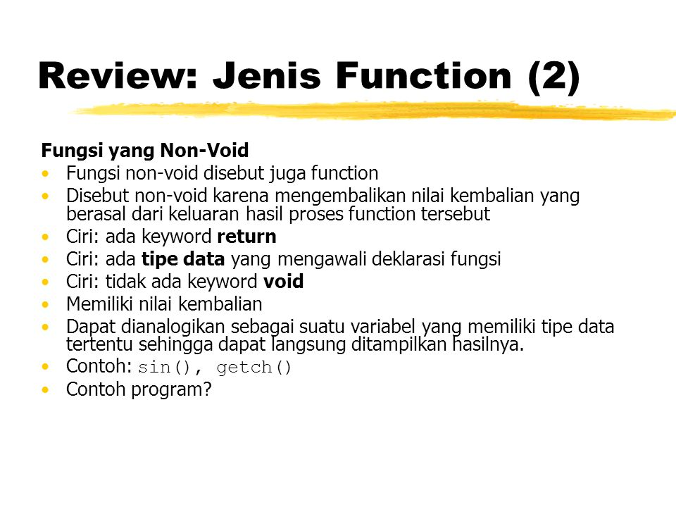 Review: Jenis Function (2)