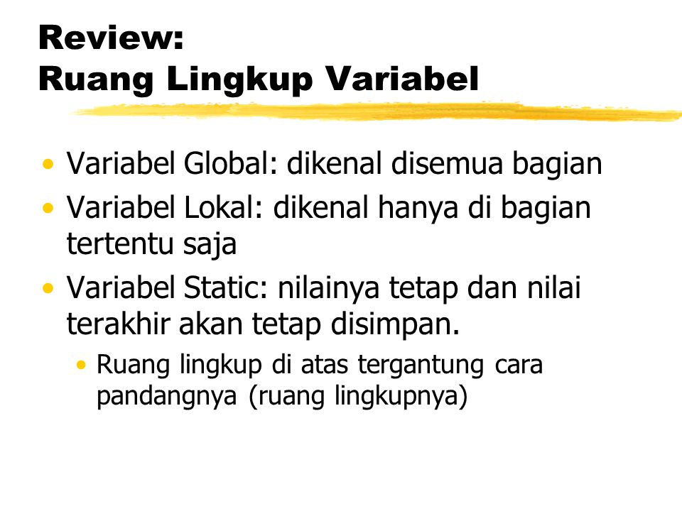 Review: Ruang Lingkup Variabel