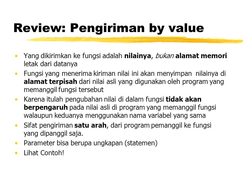 Review: Pengiriman by value