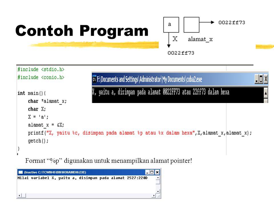 Contoh Program Format %p digunakan untuk menampilkan alamat pointer!