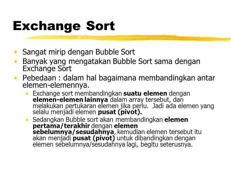 Exchange Sort Sangat mirip dengan Bubble Sort