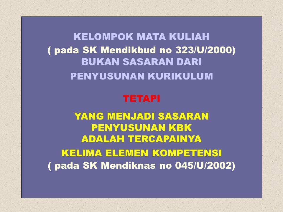KELOMPOK MATA KULIAH ( pada SK Mendikbud no 323/U/2000) BUKAN SASARAN DARI PENYUSUNAN KURIKULUM