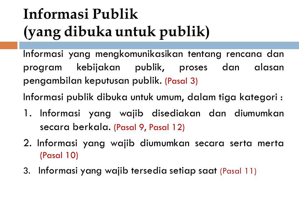 Informasi Publik (yang dibuka untuk publik)