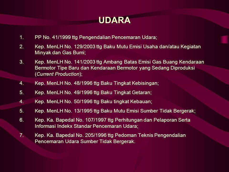 UDARA PP No. 41/1999 ttg Pengendalian Pencemaran Udara;