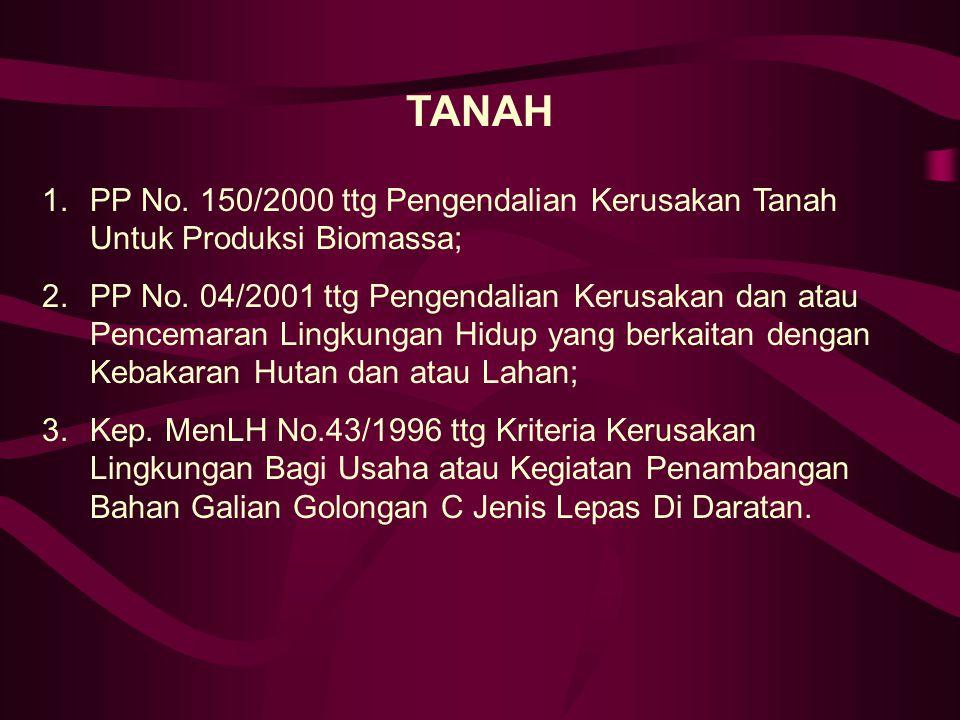 TANAH PP No. 150/2000 ttg Pengendalian Kerusakan Tanah Untuk Produksi Biomassa;