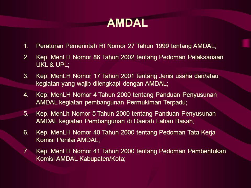 AMDAL Peraturan Pemerintah RI Nomor 27 Tahun 1999 tentang AMDAL;