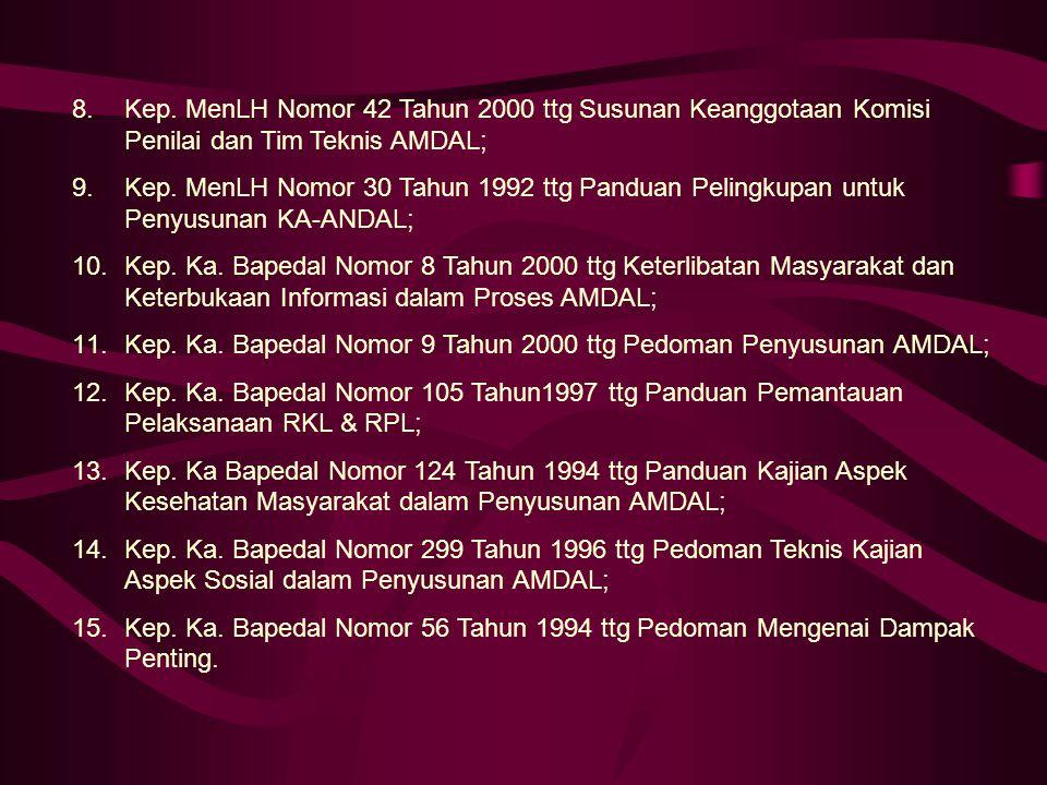 Kep. MenLH Nomor 42 Tahun 2000 ttg Susunan Keanggotaan Komisi Penilai dan Tim Teknis AMDAL;