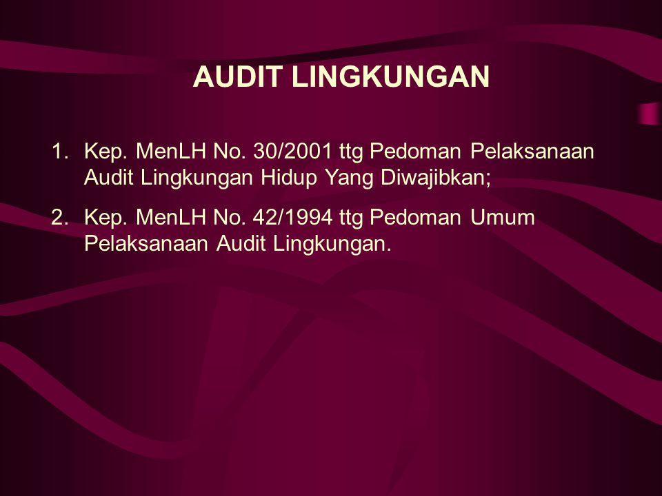 AUDIT LINGKUNGAN Kep. MenLH No. 30/2001 ttg Pedoman Pelaksanaan Audit Lingkungan Hidup Yang Diwajibkan;