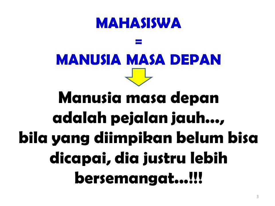 MAHASISWA = MANUSIA MASA DEPAN.