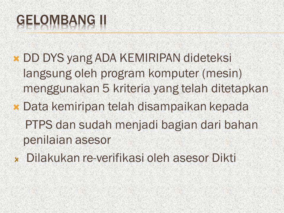 GELOMBANG II DD DYS yang ADA KEMIRIPAN dideteksi langsung oleh program komputer (mesin) menggunakan 5 kriteria yang telah ditetapkan.