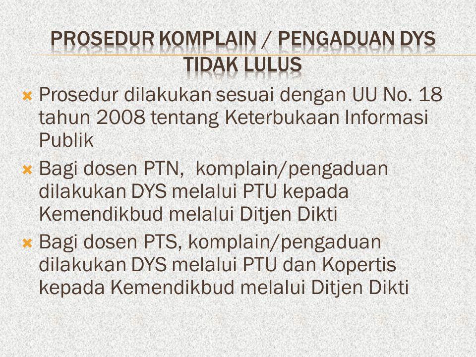 PROSEDUR KOMPLAIN / PENGADUAN DYS TIDAK LULUS