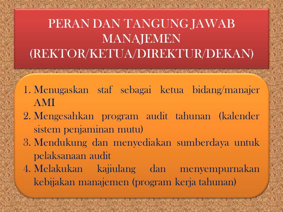 PERAN DAN TANGUNG JAWAB MANAJEMEN (REKTOR/KETUA/DIREKTUR/DEKAN)